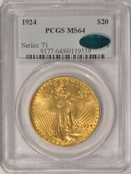 1924 20 Saint Gaudens Gold Double Eagle Coin Pcgs Ms64 Cac Pre-1933 Gold