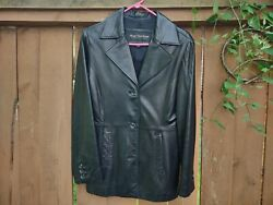 Gently Used Women's Marc New York Andrew Marc Black Buttery Leather Coat Size M $39.99