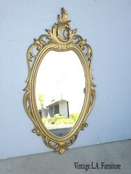 Vintage French Country Rococo Syroco Gold Wall Mantle Mirror Made In Usa