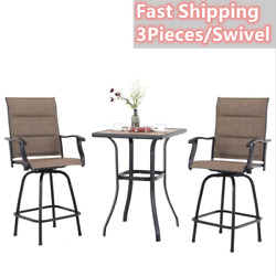 Outdoor Patio Bar Table Chair Set Of 3 Swivel Bar Stools High Bistro Chair Table