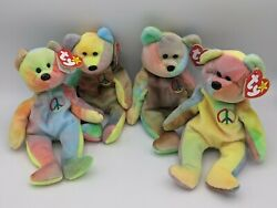 TY Beanie Baby Peace Bear 1996 Retired Mint Condition Lot of 4 Bears Mint Tags