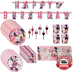 Minnie Mouse Birthday Party Supplies Pack Big/small Plates, Cups, Napkins, Tabl