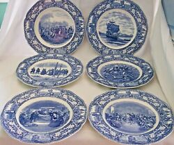 6 Six Different Blue Crown Ducal Colonial Times Dinner Plates 10 1/2