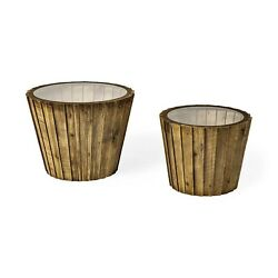 2x Natural Wood Grain Coffee Table Sofa Set End Tables For Living Room Furniture