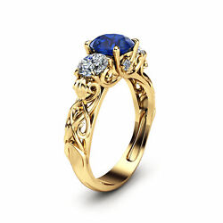 1 Carat Blue Sapphire Engagement Ring 14k Solid Yellow Gold Unique Style Ring