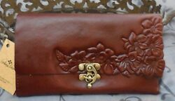 Patricia Nash TERRESA Floral Tooled Leather RFID Clutch Wallet BROWN NWT $119 $74.95