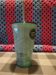 ⭐️new-starbucks 2020 Glass Cold To Go Cup/mug Tumbler Recycled Teal 16oz☀️