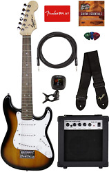 Fender Squier 3/4 Size Kids Mini Strat Electric Guitar Learn-to-play Bundle W/ A