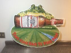 1995 Budweiser Busch Frog Take Some Back To Your Pad Metal Beer Sign Gw