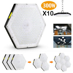 10x 300w Led High Bay Light Gym Factory Warehouse Industrial Shed Lighting Chain