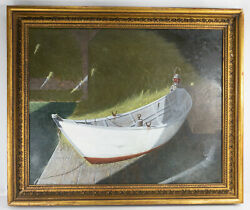 Antique American Oil Painting On Canvas Maine Cape Cod Boat Signed Illegibly