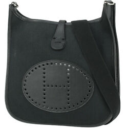 Hermes Evelyn Pm Twal Chevron Leather Black Silver Fittings Shoulder