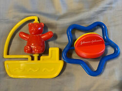 Vintage Johnson And Johnson Baby Rattles Spinner Star Bear Boat Toys Primary Color