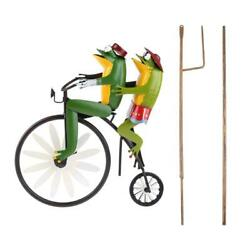 Wrought Iron Frog Riding Bicycle Wind Spinner With Standing Rod Animal Decoratio