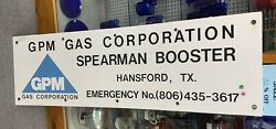Gpm Gas Corporation Porcelain Oil Lease Oilfield Sign 56andrdquo X 18andrdquo
