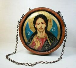 Antique Handmade Carved Wood Religious Wine Canteen Virgin Mary Jesu Icon Vessel