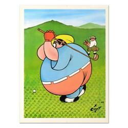 Xavier Cugat - Fat Golfer - Numbered Limited Edition Lithograph Golf Golfing Art