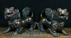8 Antique Chinese Bronze Dynasty Palace Feng Shui Foo Dog Lion Statue Pair