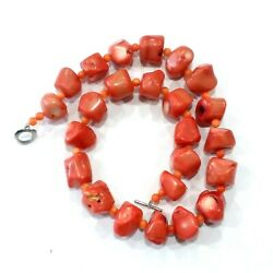 Chunky Salmon Pink Orange Coral Bead Necklace 20 Long Toggle Clasp 204 Gm Z62