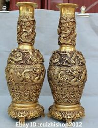 Marked Chinese Exquisite Bronze 9 Dragon Lion Flower Bottle Vase Statues Pair