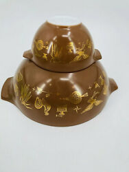 Vintage Pyrex Early American Brown Gold Eagle Chip And Dip Set Collectibles