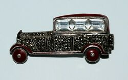 Vintage Art Deco Automobile Car Brooch Sterling Silver Costume Jewelry Germany