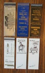 Whitewate, Wisconsin Lot Of 6 Matchbook Matchcover -e