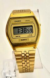 Rare Vintage Casio B-612g Lcd Gold Watch From 1989 Module 695 Japan.new Battery