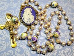 Vatican Style Cream Freshwater Pearl Lavender Mary Jesus Cameo Amethyst Rosary