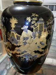 And Co Asian Inspired 12in Black And Gold Vase
