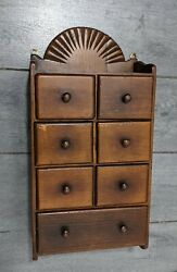 Vintage Wall Wood Spice Chest Box Cabinet W Drawers Rustic Primitive Apothecary