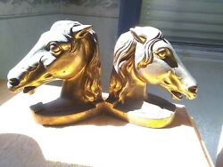 Vintage Pair Of 2 Metal Horse Head Bookends With Bronze Brass Finish
