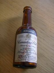 1950's Canadian Club Whisky Glass Mini Bottle/paper Label/marked Transportation