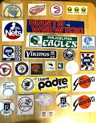 Lot Of 27+ Vintage Nfl Nba Mlb And Nhl Window Decal Stickers - Oilers Expos Etc.