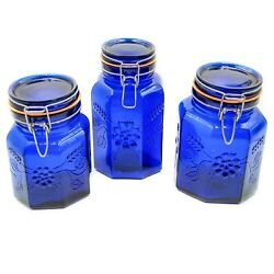 Set 3 Cobalt Blue Glass Canisters Raised Flower Wire Bale Closure Made Italy