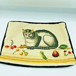 Vintage Katha Diddel Cheshire Cat Needlepoint Throw Pillow Cover Cottage Core