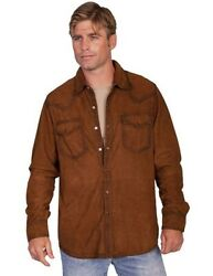 Scully Western Shirt Mens Suede Leather Pearl Snap L/s F0_78