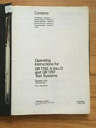 General Radio Operating Inst For Gr 1792 A-d And Gr 1797 Test Sys Circa 1977