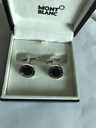 Mont Blanc Carbon Round Small Cufflinks Made In Germany