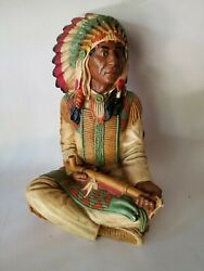 """Vtg Lg 13"""" Universal Statuary 1980 Native American Indian Chief W/ Peace Pipe"""