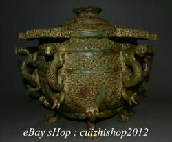 16 Antique China Bronze Ware Dynasty Dragon Beast Stripe 6 Ear Container