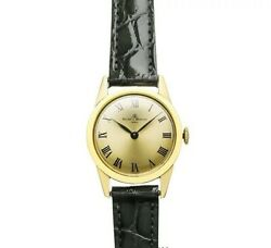 Baume And Mercier Baumatic Antique Watch Ladies 14k Yellow Gold Black Leather