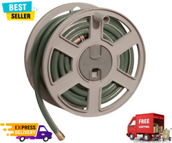 Garden Hose 100 Ft Wall Mounted Tracker With Removable Reel Fully Assembled