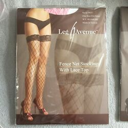 New Pink Fence Net Stockings Thigh Highs Lace Top