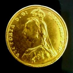 1887 Great Britain Antique Uk Queen Victoria Gold Coin, 1887 Gold 1 Sovereign