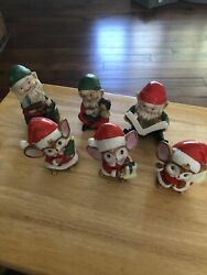 Set Of 6 Vintage Homco Figurines Santaandrsquos Elves And Mice Christmas Toy Makers. 5205