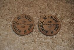 Vintage 1971 Better Homes Of Milwaukee Real Estate Promo Wooden Coins