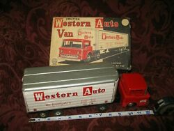 Vintage Minty Line Mar Litho Tin Western Auto Tractor Trailer In Box Aaa ++