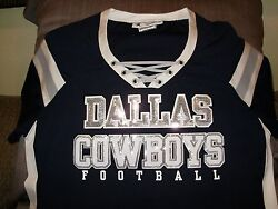 Nfl Dallas Cowboys Sparkle Bling Sequins Fitted Jersey Shirt Women's Size Large