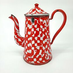 Antique Enamelware Coffee Pot Gooseneck Droopy Check Red White Seamed Rare